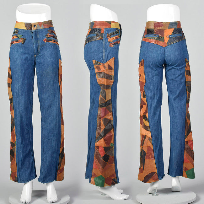 Small 1970s Patchwork Leather Denim Bellbottoms