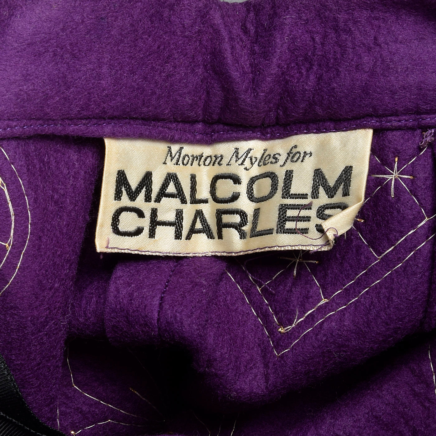 1970s Malcolm Charles Maxi Skirt, Purple Felt with Appliques