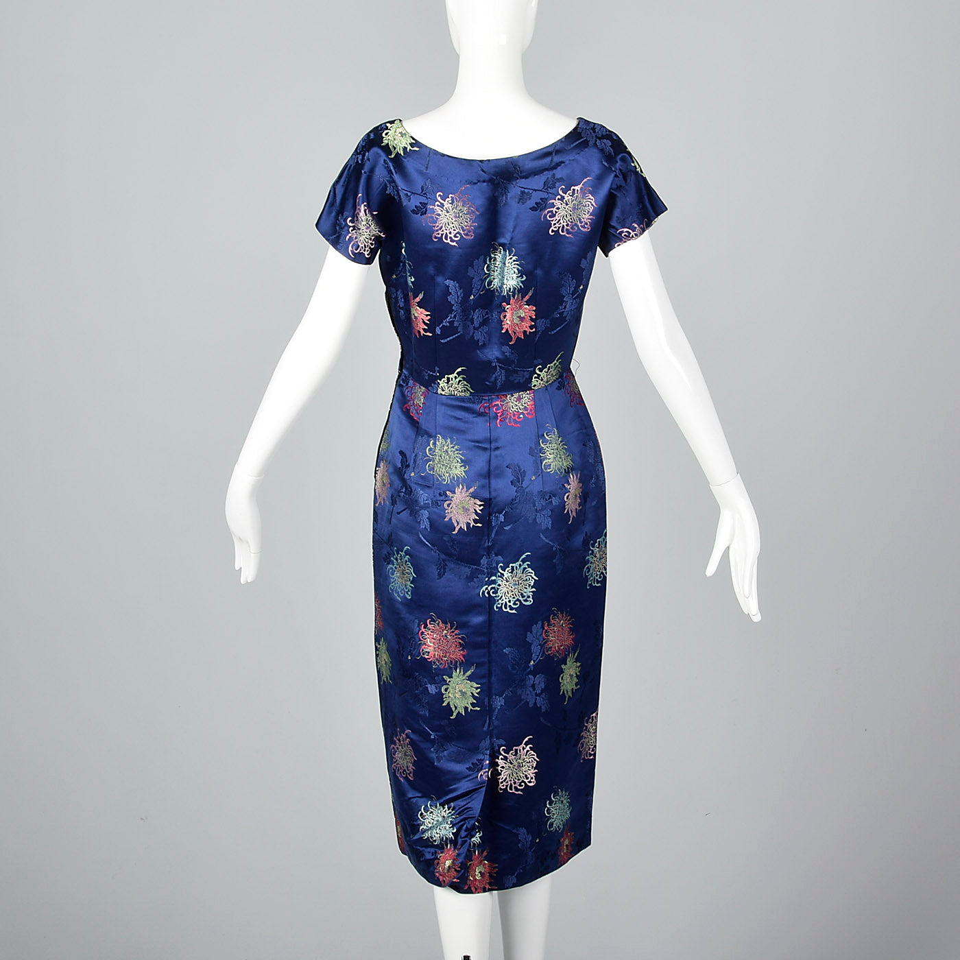 1960s Blue Brocade Dress with Matching Jacket
