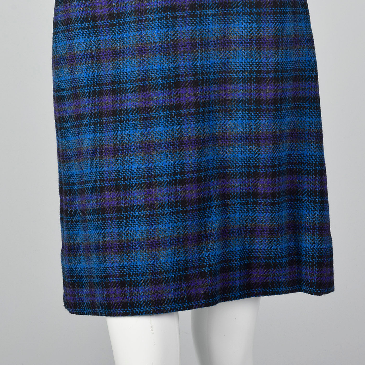 1960s Pendleton Wool Skirt Suit in Blue and Purple Plaid