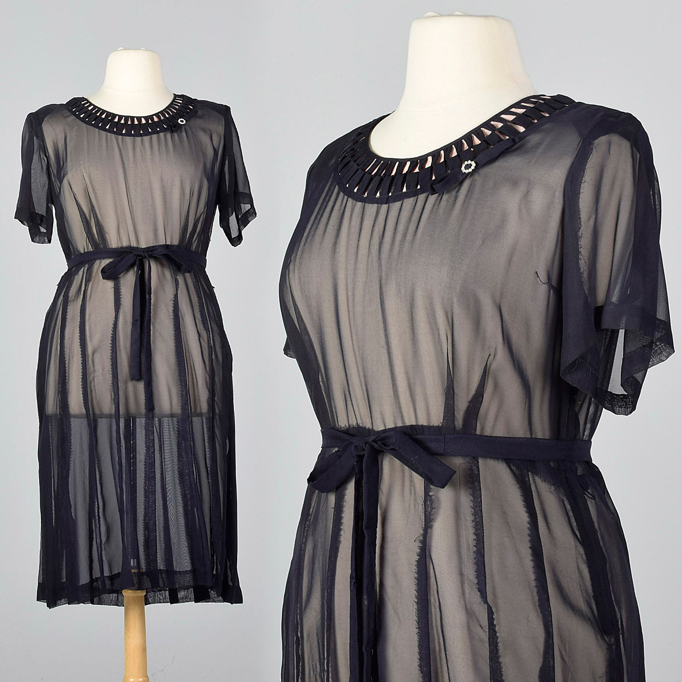 1950s Sheer Navy Party Dress