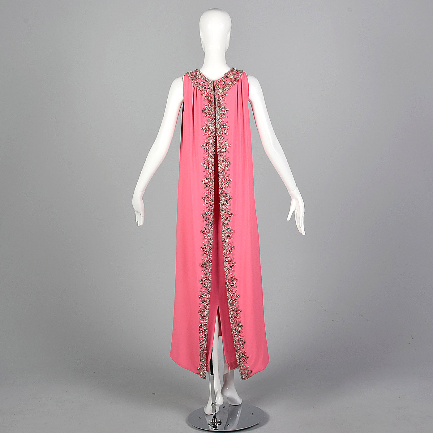 1960s Hot Pink Wiggle Dress with Beaded Float