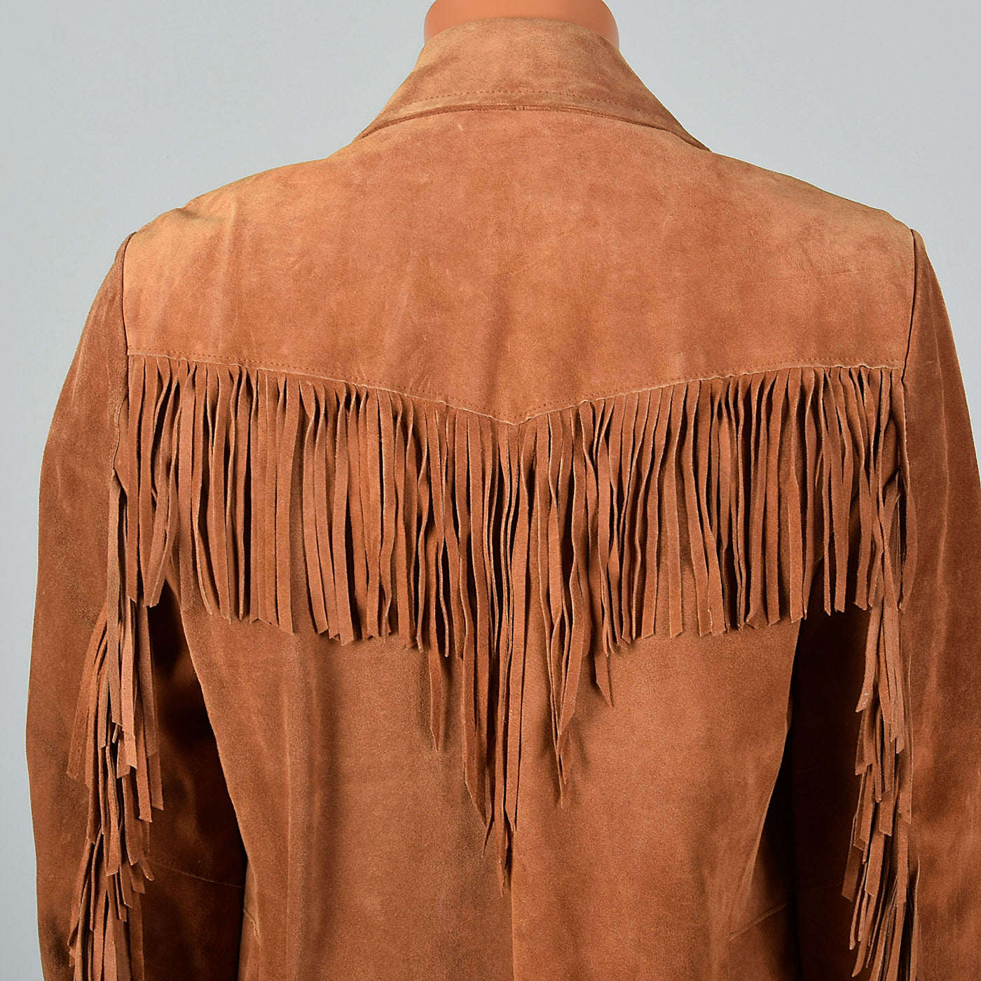 1970s Mens Brown Leather Fringe Jacket