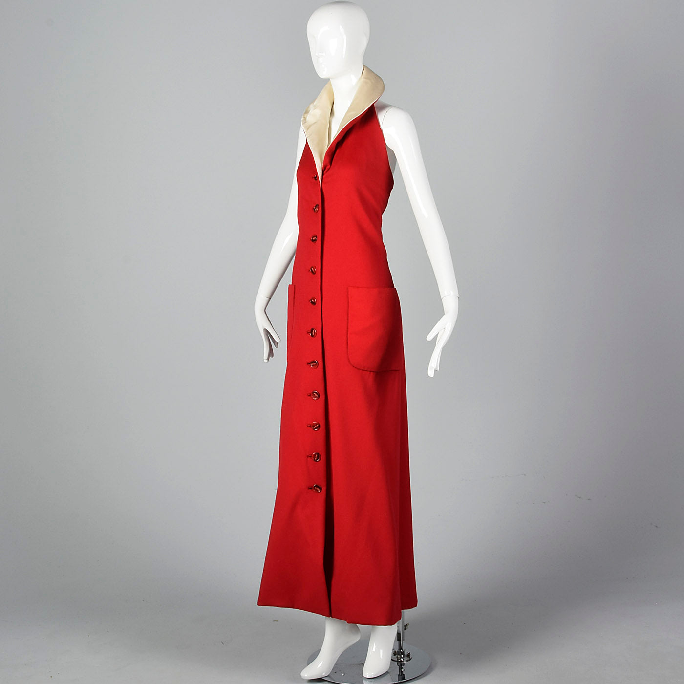 1970s Geoffrey Beene Red Wool Maxi Dress