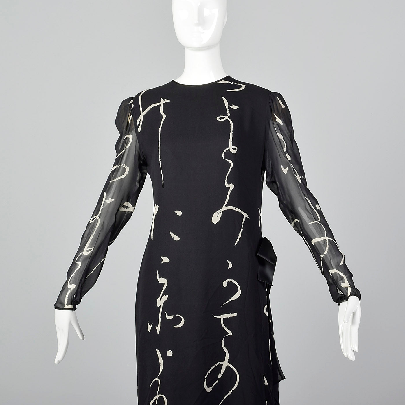 1980s Hanae Mori Black Silk Dress