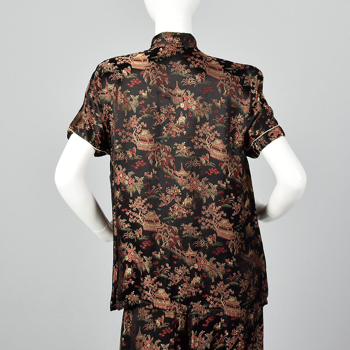 1960s Black Brocade Pajama Set
