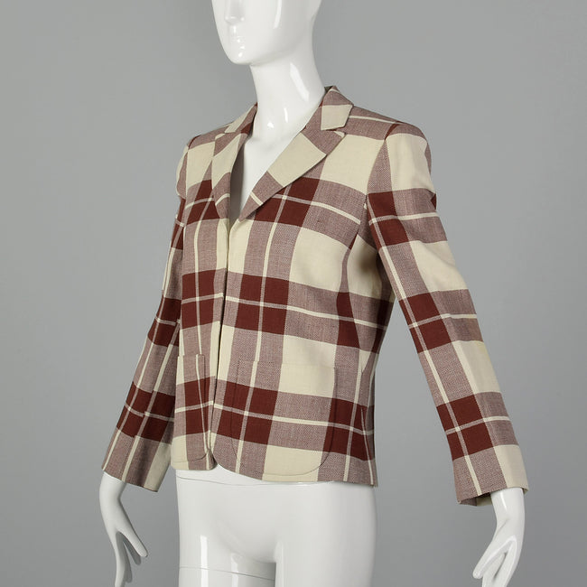 XS Salvatore Ferragamo Beige and Brown Plaid Blazer