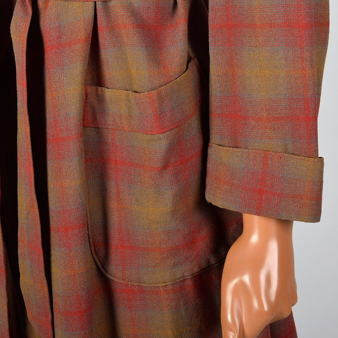 1950s Mens Pendleton Red Plaid Wool Robe