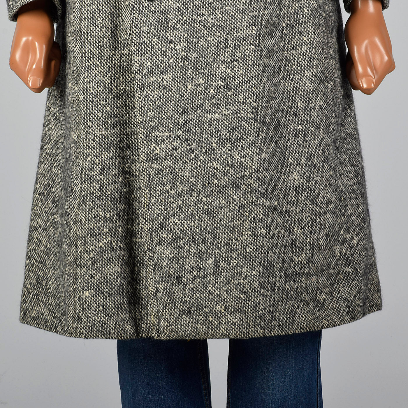 1970s Mens Wool Tweed Coat with Raccoon Fur Collar