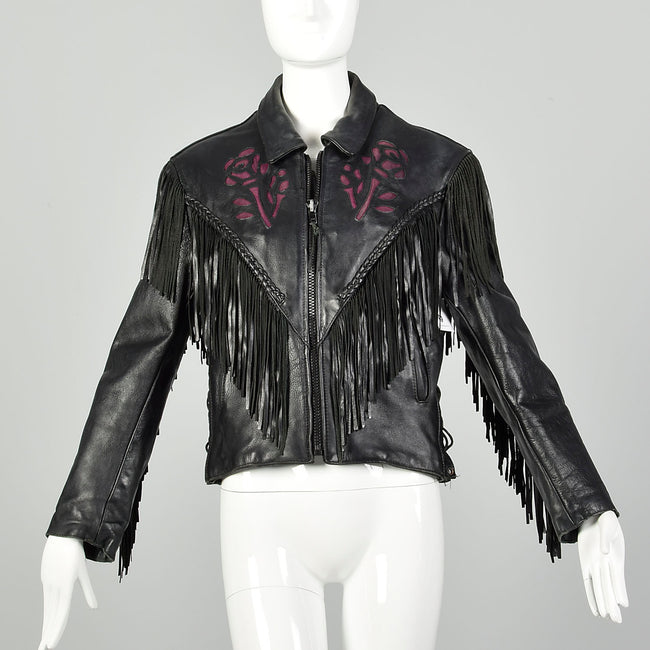 Small 1980s Black Leather Biker Jacket Fringe Purple Rose Inlays Zip Out Lining