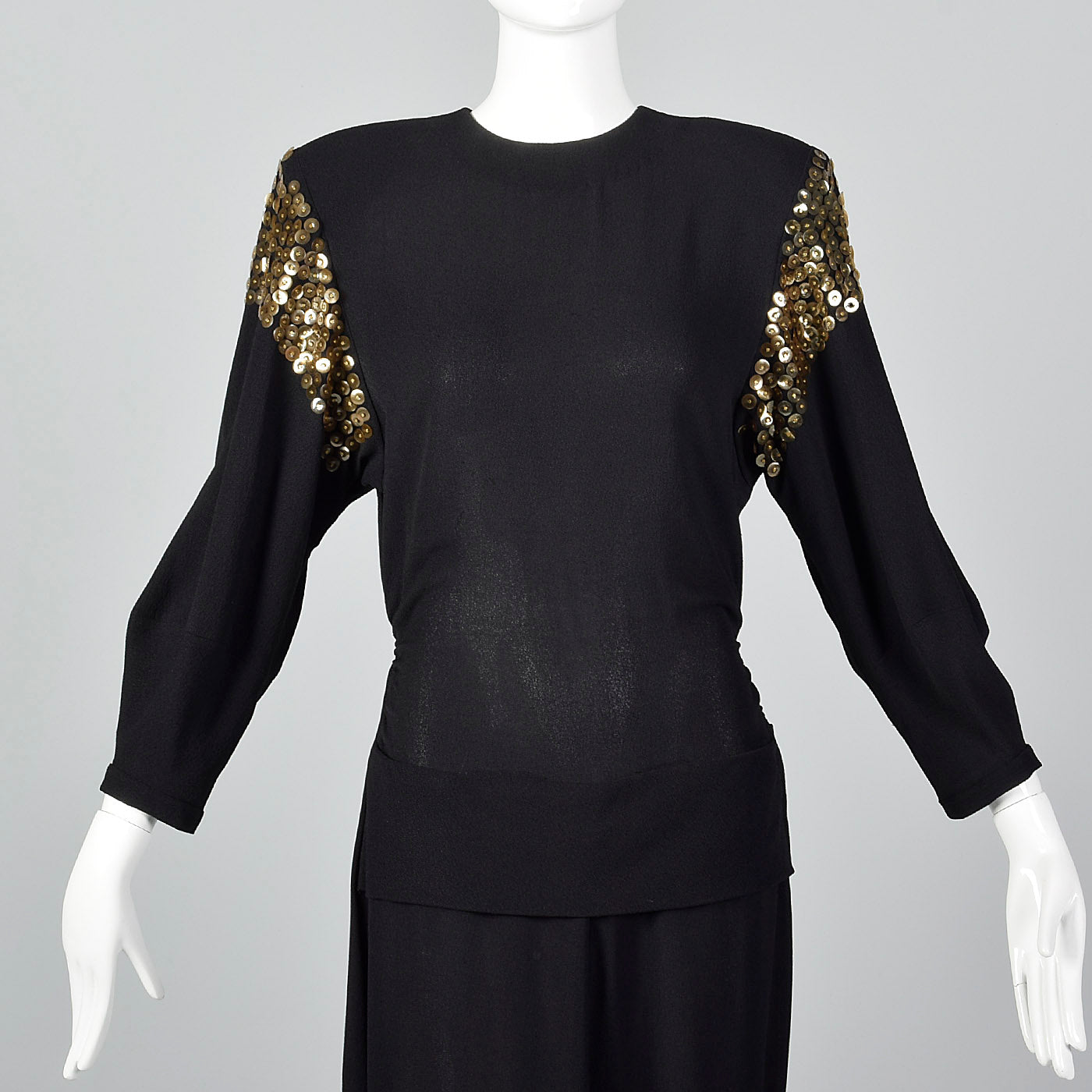 1940s Black Femme Fatale Dress with Gold Sequins