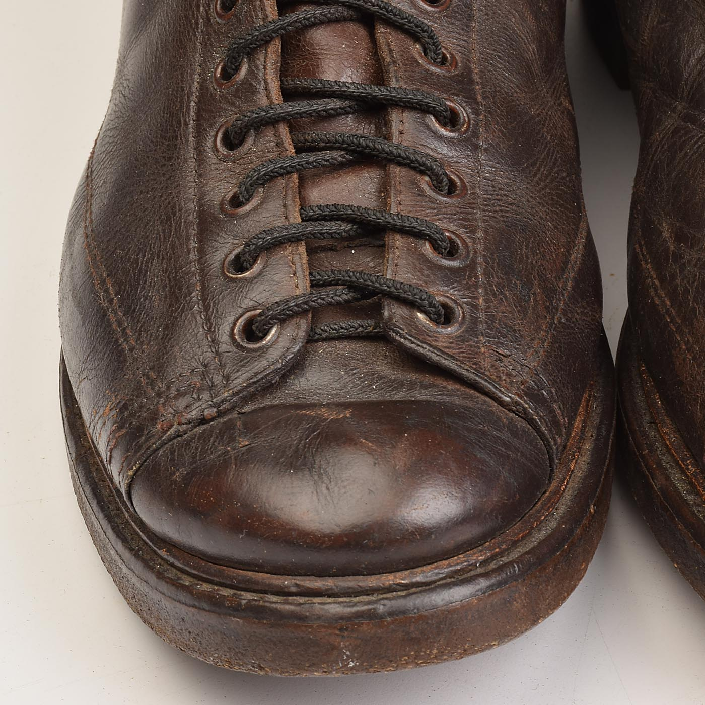 1920s Men's Brown Leather Lace Up Monkey Boots