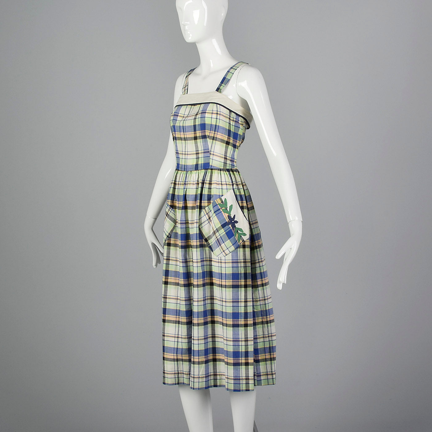 1950s Plaid Dress and Jacket with Patch Pockets