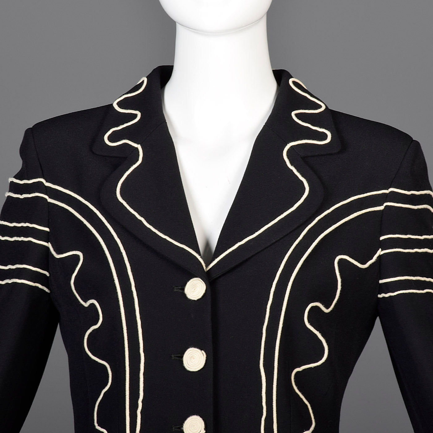 Moschino Cheap & Chic Skirt Suit with Rope Soutache Trim