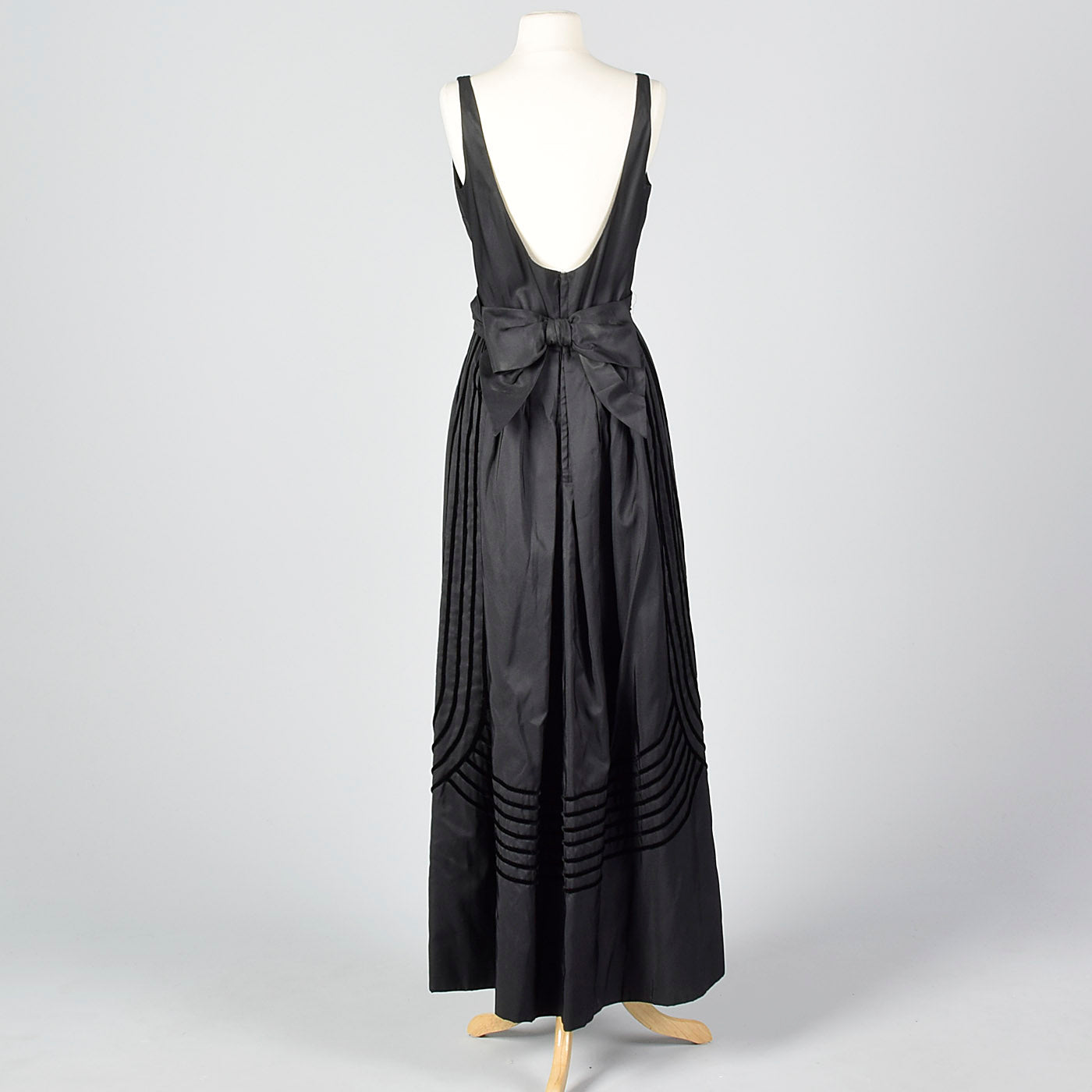1950s Formal Black Maxi Dress with Stripe Trim