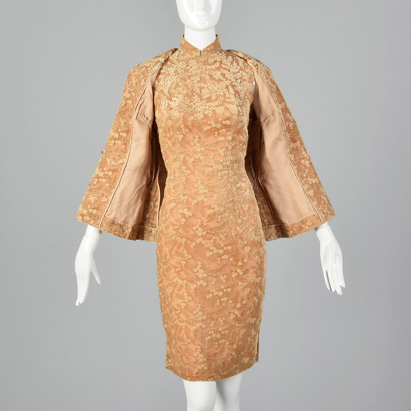 1960s Burnout Silk Velvet Dress Set