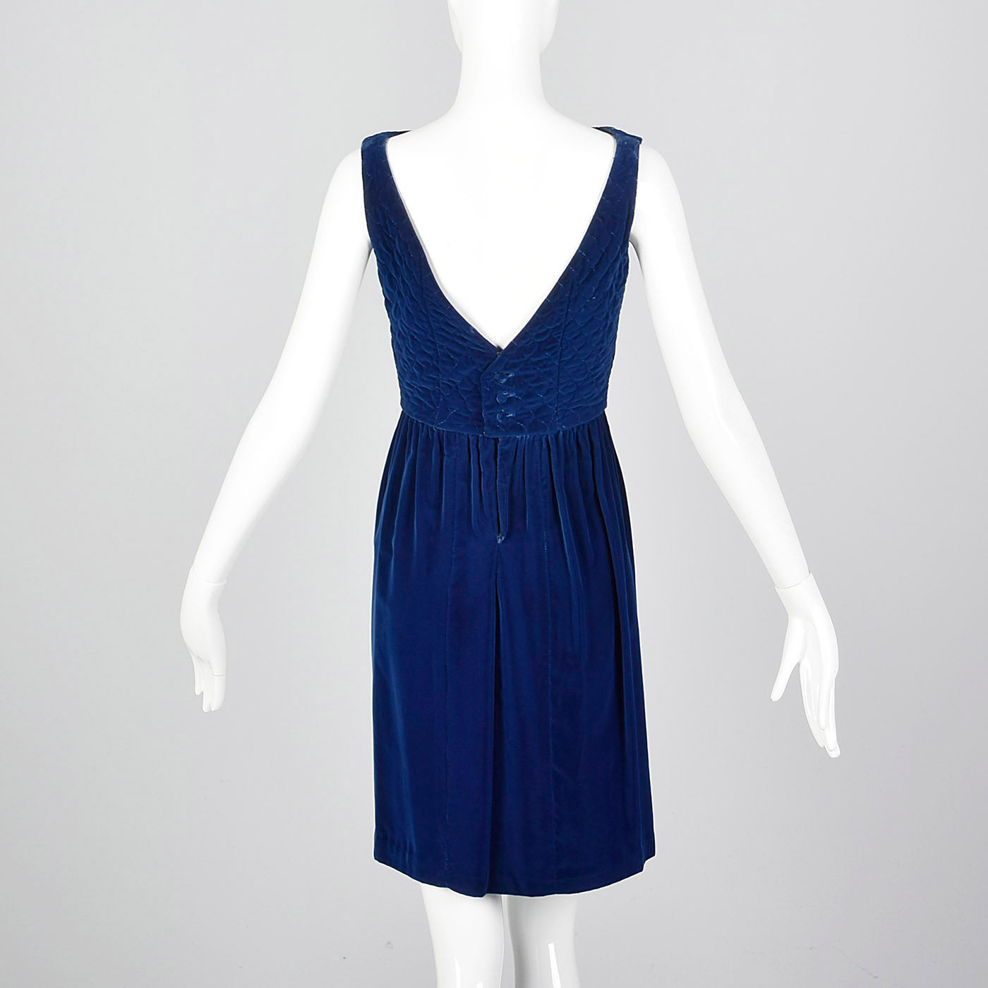 1960s Lanz Original Blue Velvet Dress