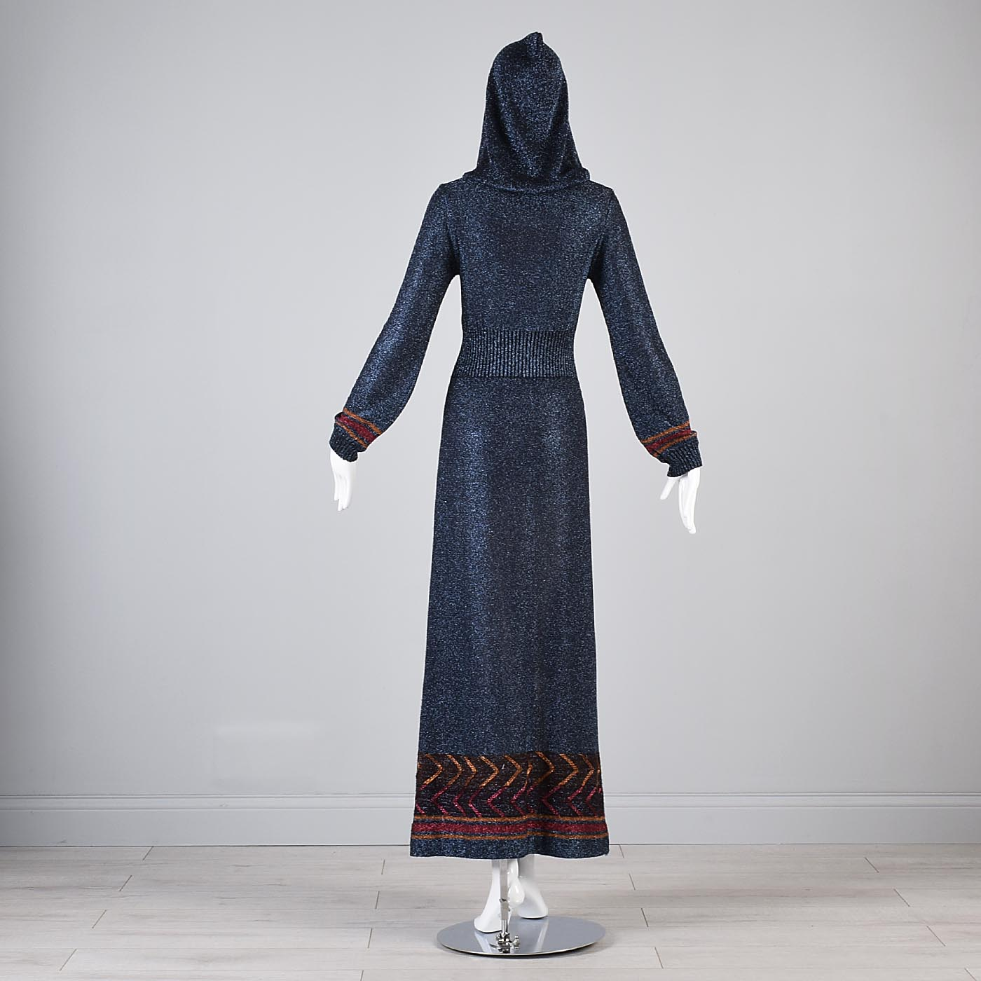 1970s Iconic Hooded Maxi Dress in Metallic Blue Knit