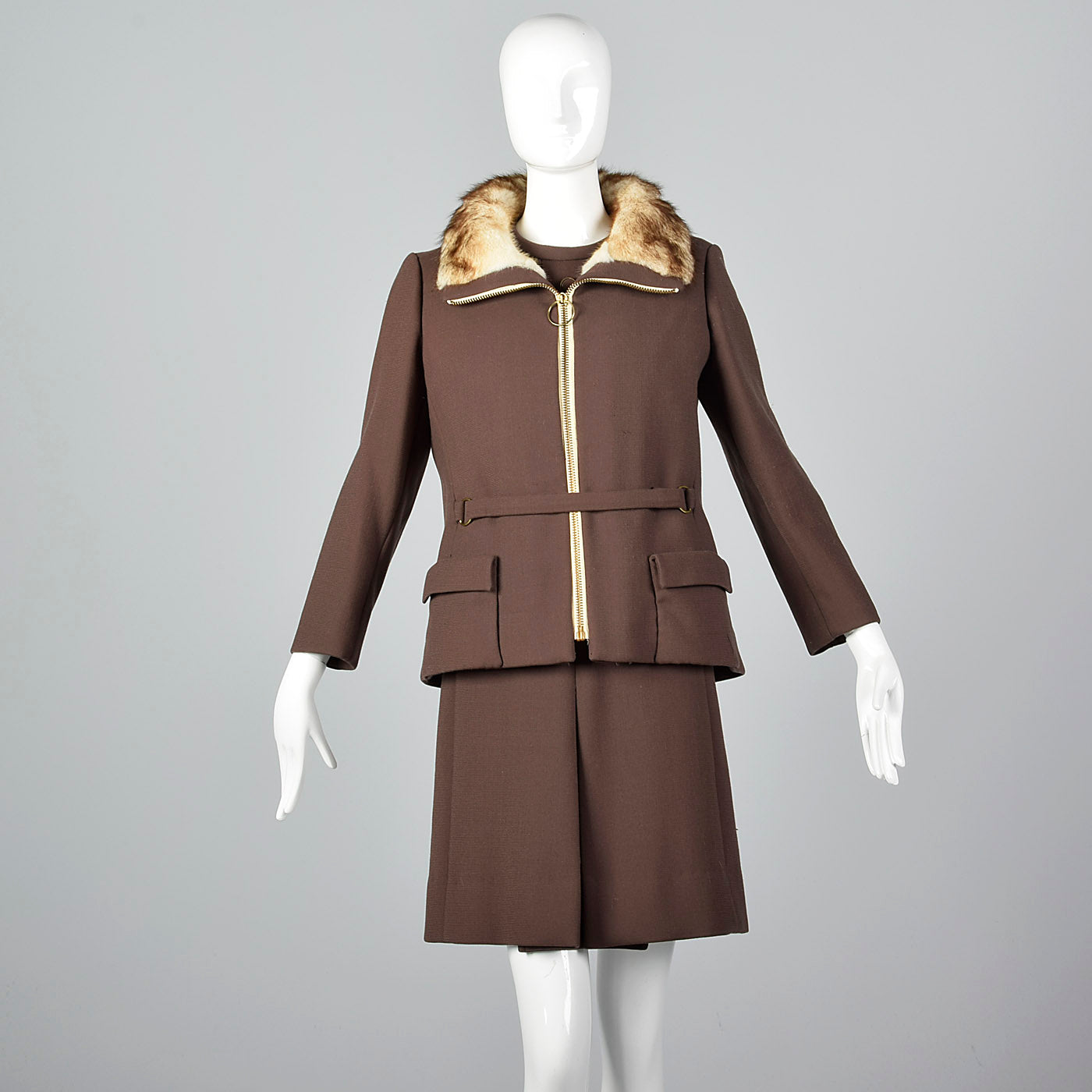 1960s Brown Wool Dress with Muskrat Fur Lined Jacket