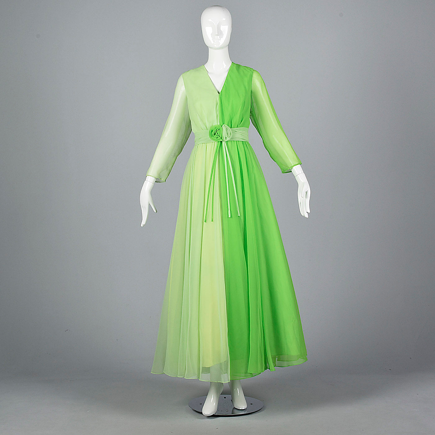 1970s Green Colorblock Maxi Dress