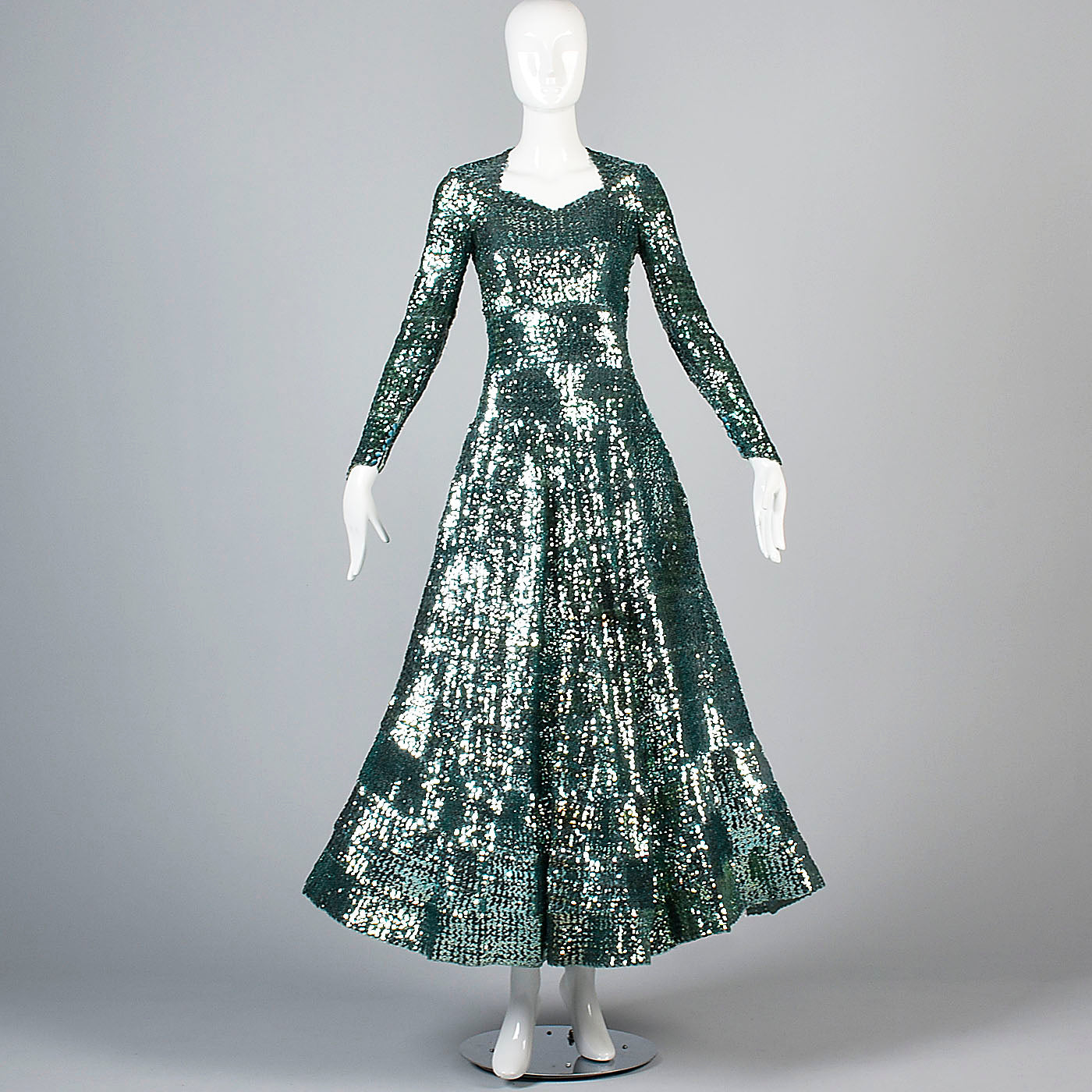 Extraordinary 1930s Green Sequined Evening Gown