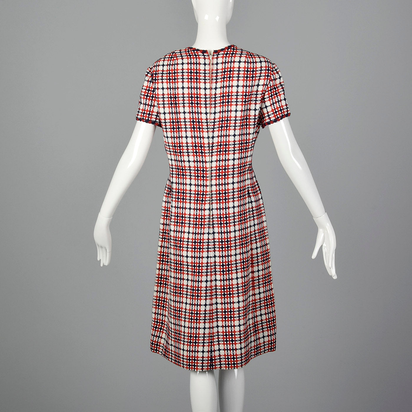 1960s Dress Set in Red and Navy Plaid