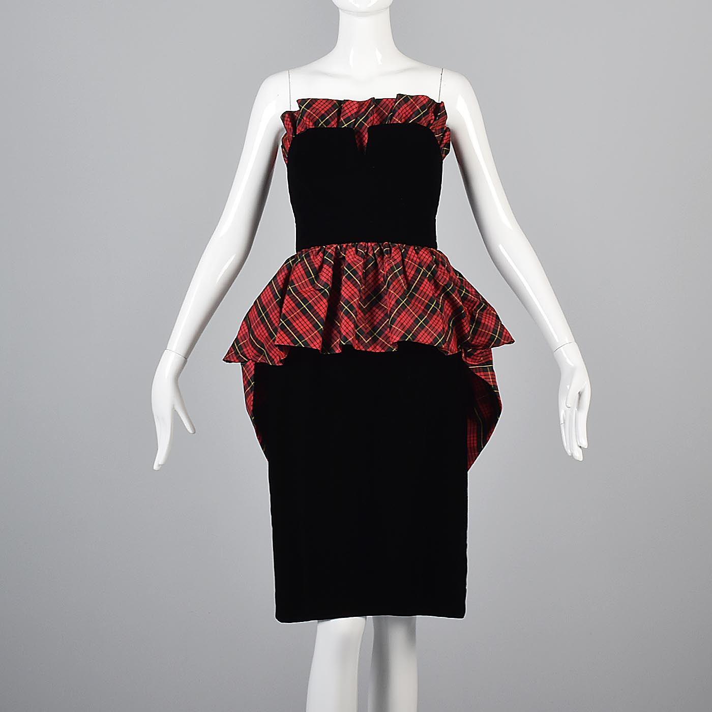 Victor Costa Black Velvet Pencil Dress with Red Tartan Plaid Peplum