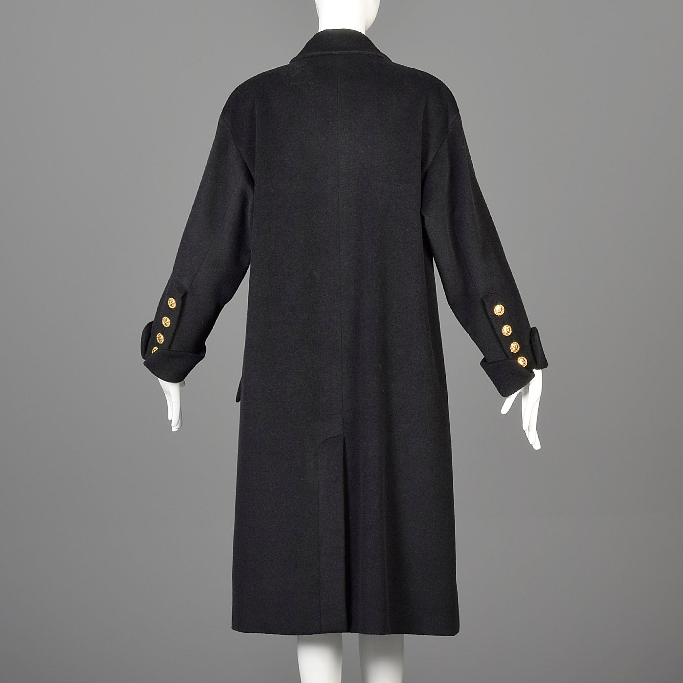 1980s Chanel Boutique Black Cashmere Coat with Gold Logo Gold Buttons