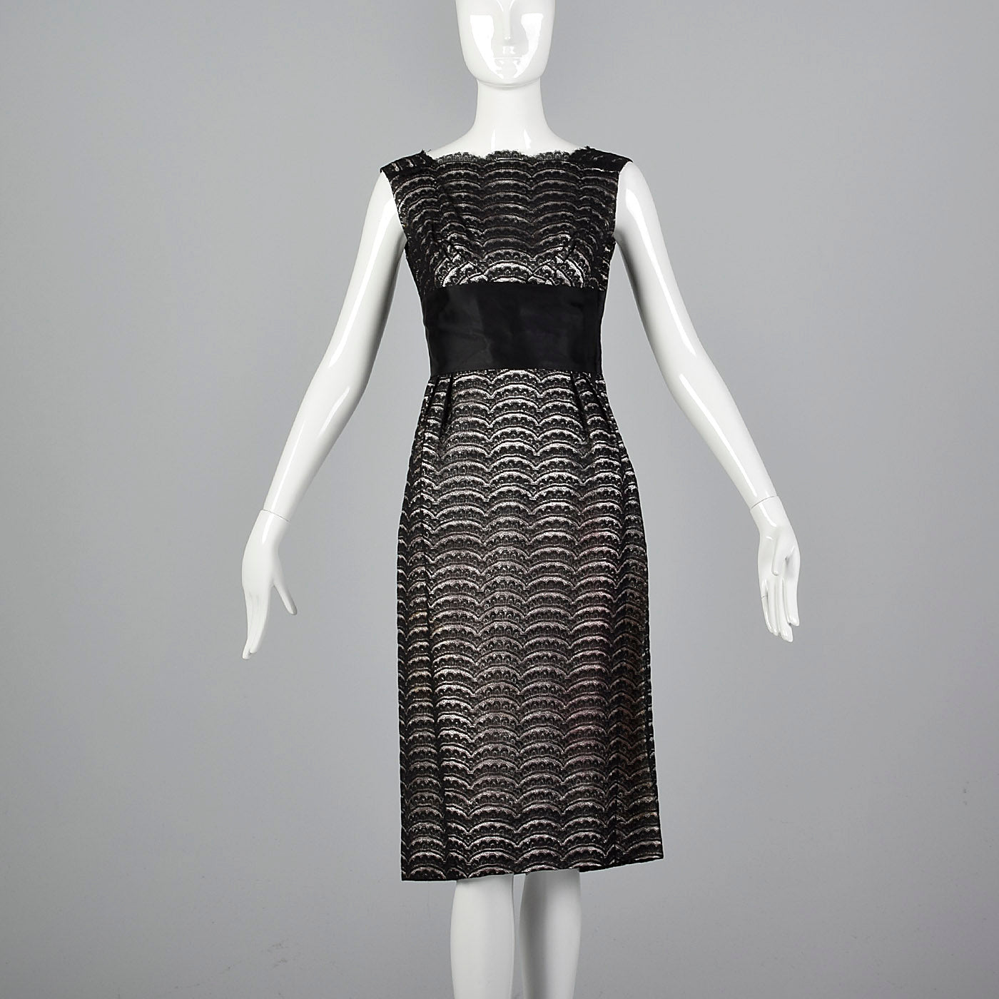 1950s Black Lace Dress Over Pink and Silver Lurex