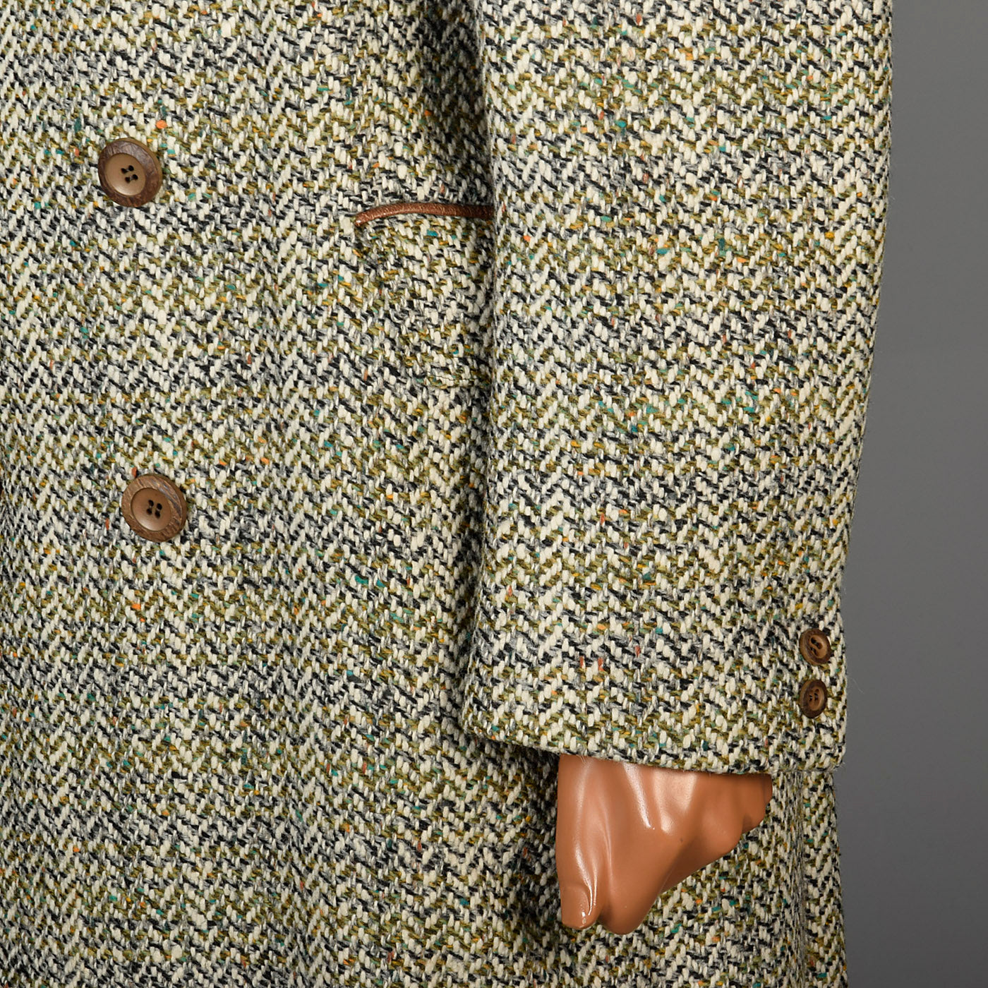 1970s Men's Cortafiel Tweed Overcoat, Double Breasted with a Belted Back