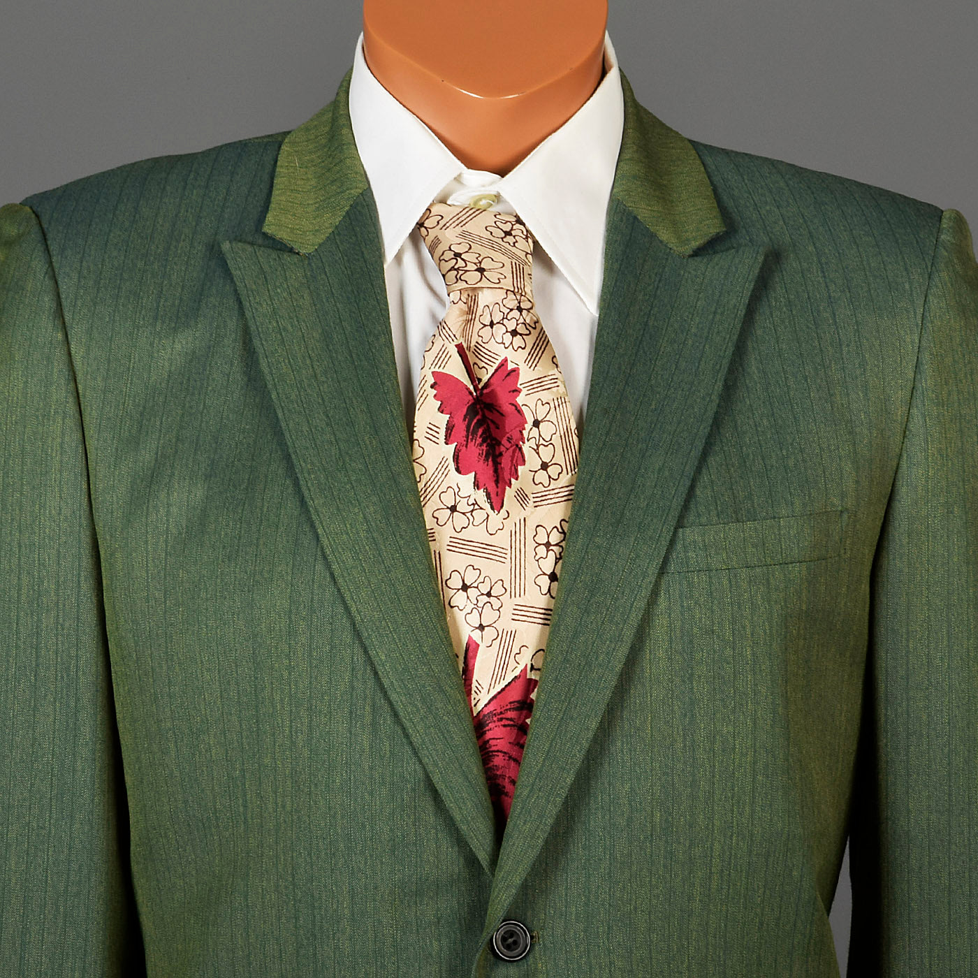 1960s Men's Emerald Green Two Piece Suit with Pinstripes