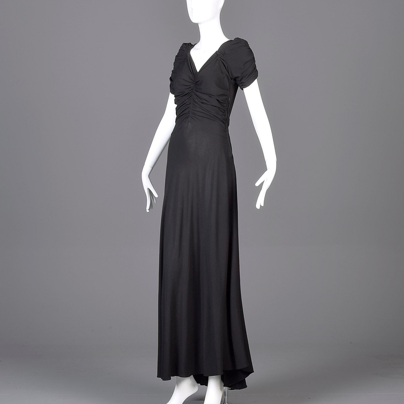 1940s Black Crepe Evening Gown with Short Sleeves & Ruched Bodice