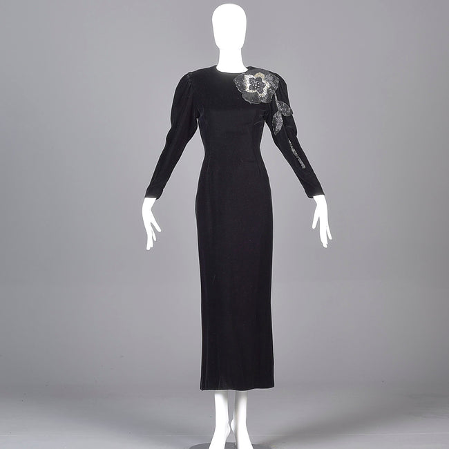 1980s Bill Blass Black Velvet Evening Gown with Beaded Flower & Mutton Sleeves