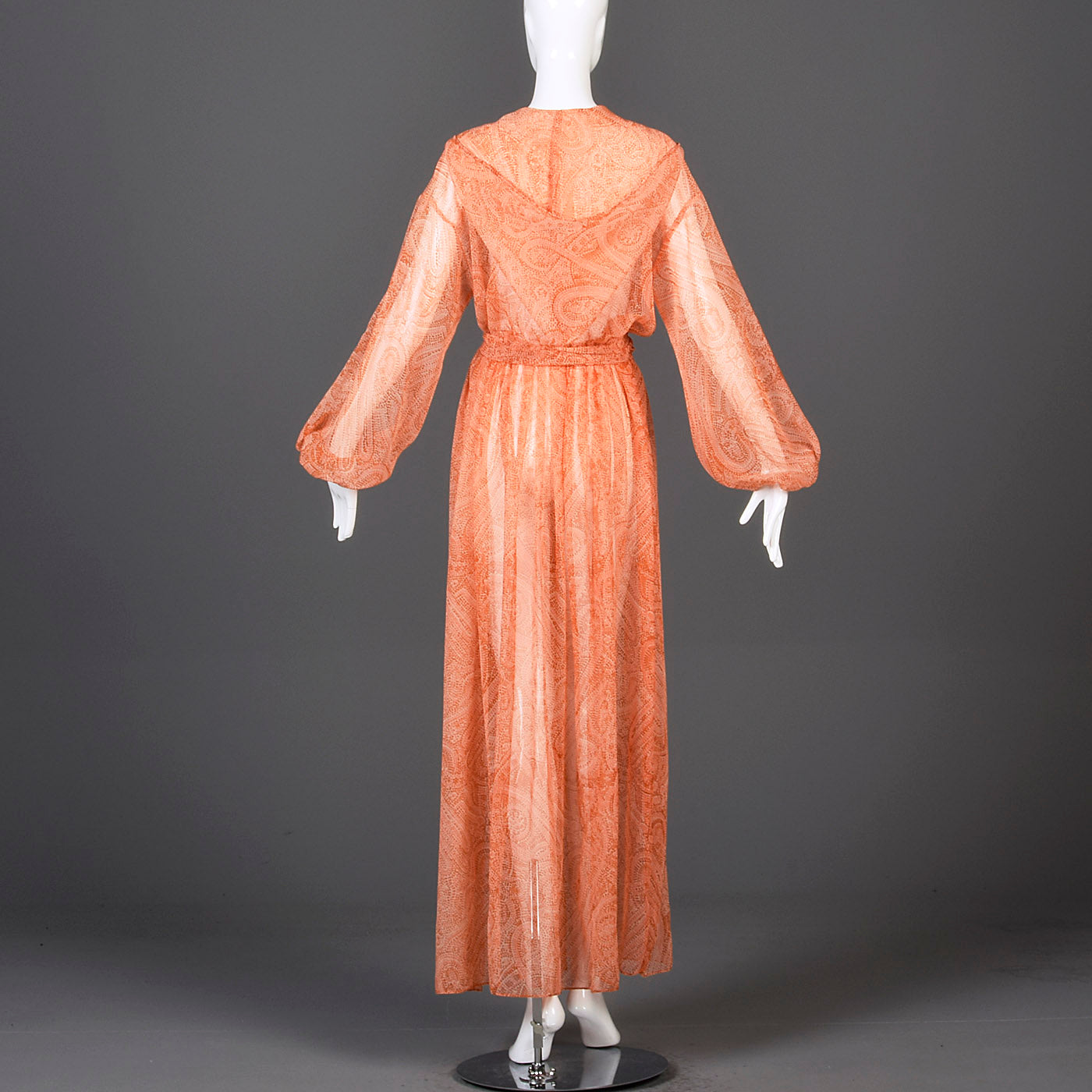 1970s Flowy Sheer Maxi Dress with Hood