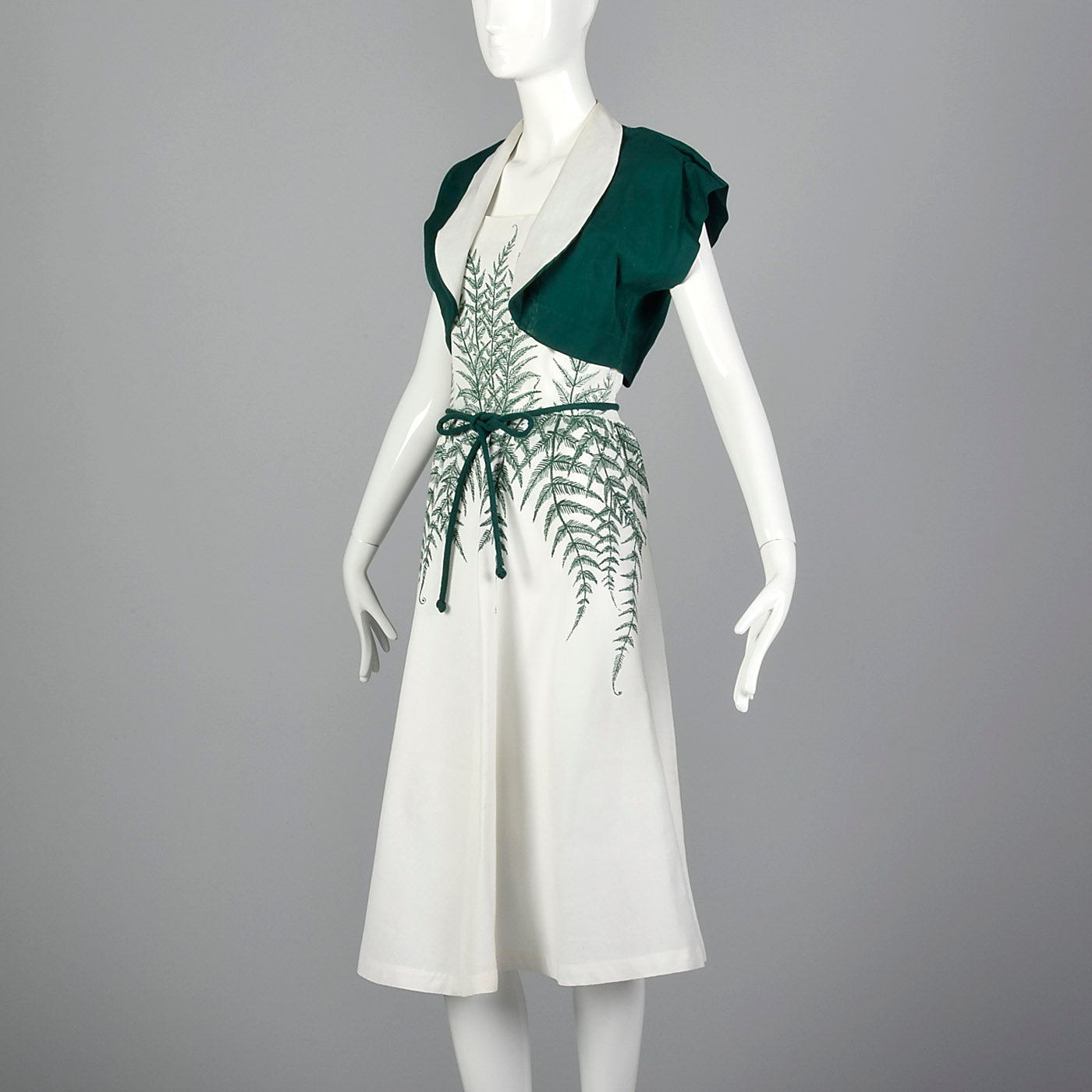 1950s Novelty Fern Dress