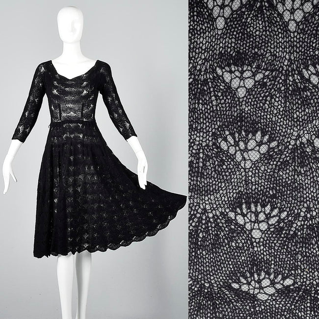 1950s Sexy Black Crochet Cocktail Dress with Full Skirt