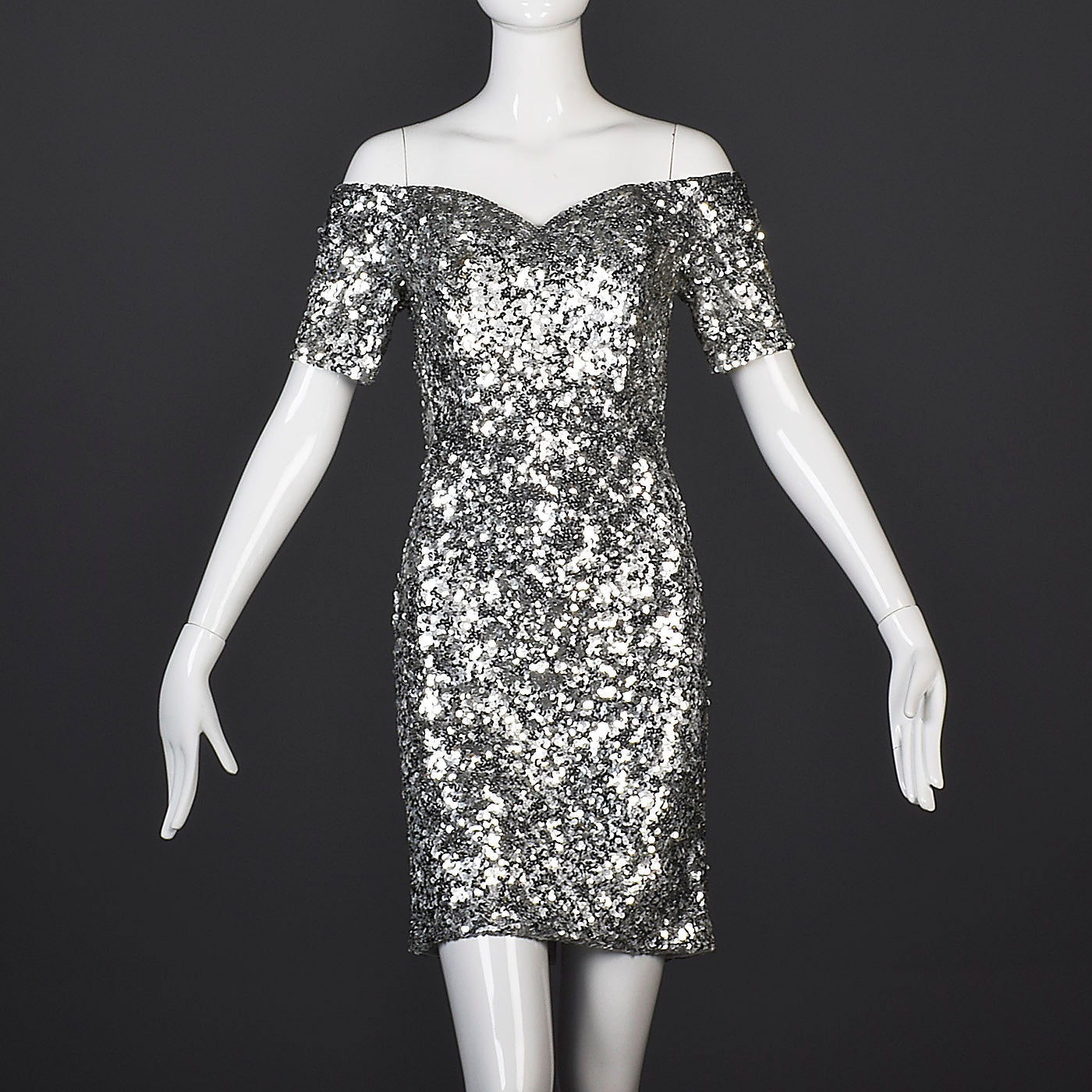 1980s Off Shoulder Neiman Marcus Silver Sequin Cocktail Dress