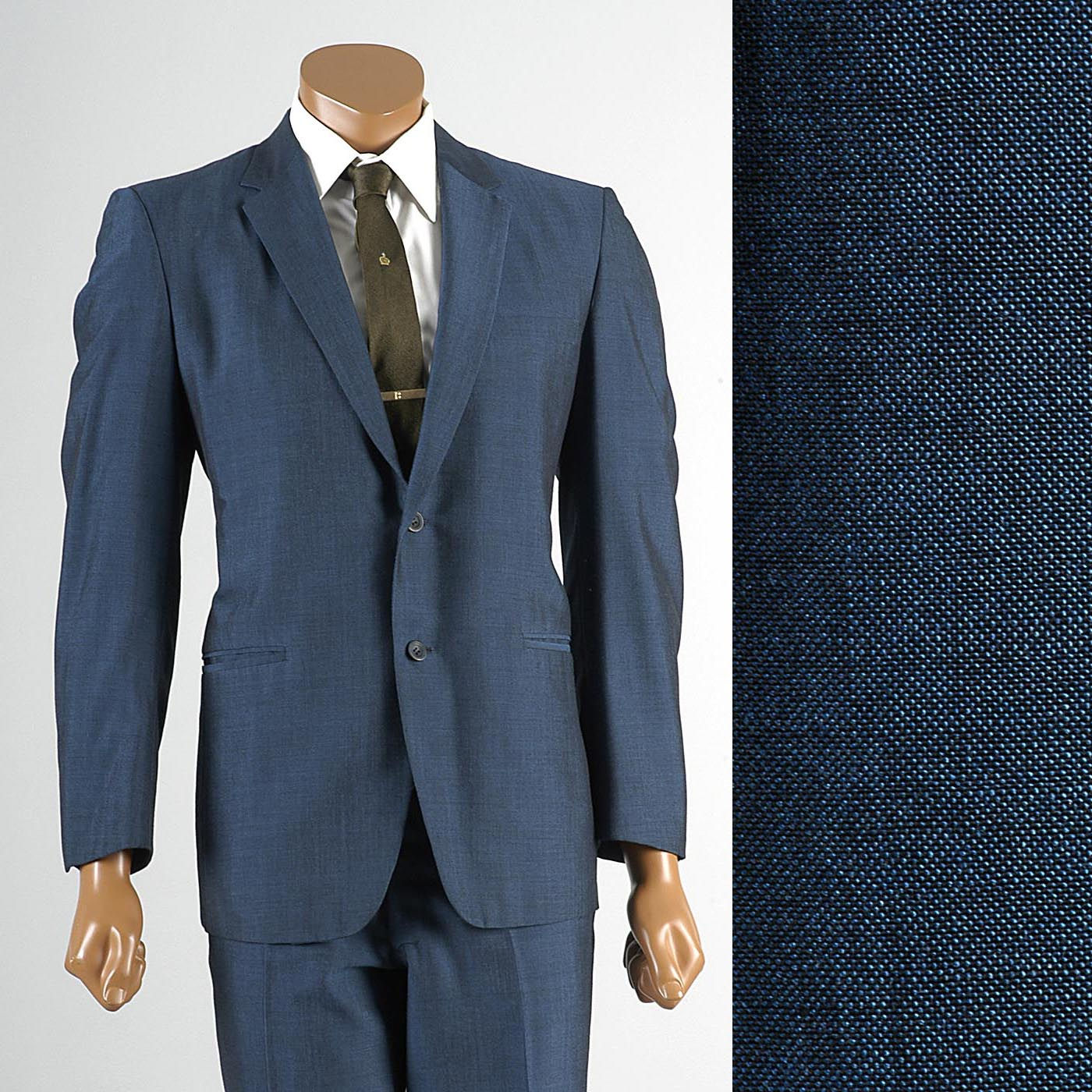 1960s Men's Blue & Black Sharkskin Two Piece Suit