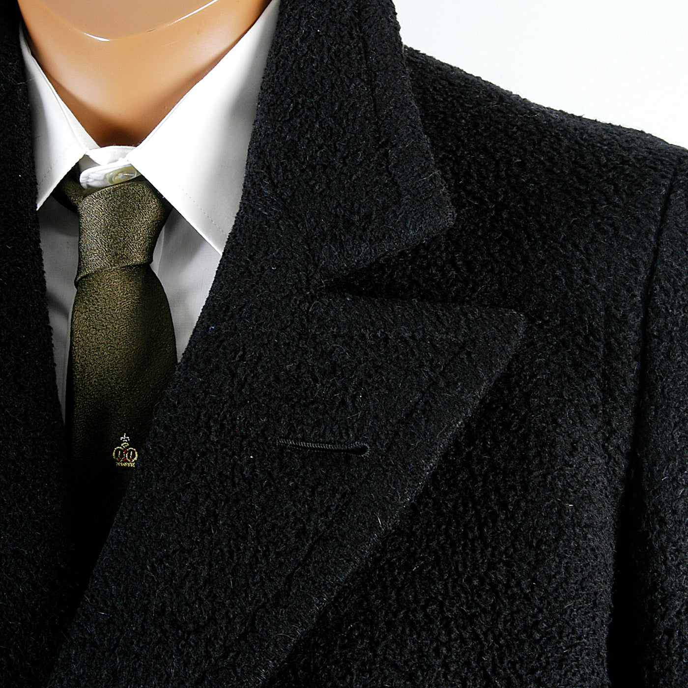 1920s Men's Black Wool Overcoat