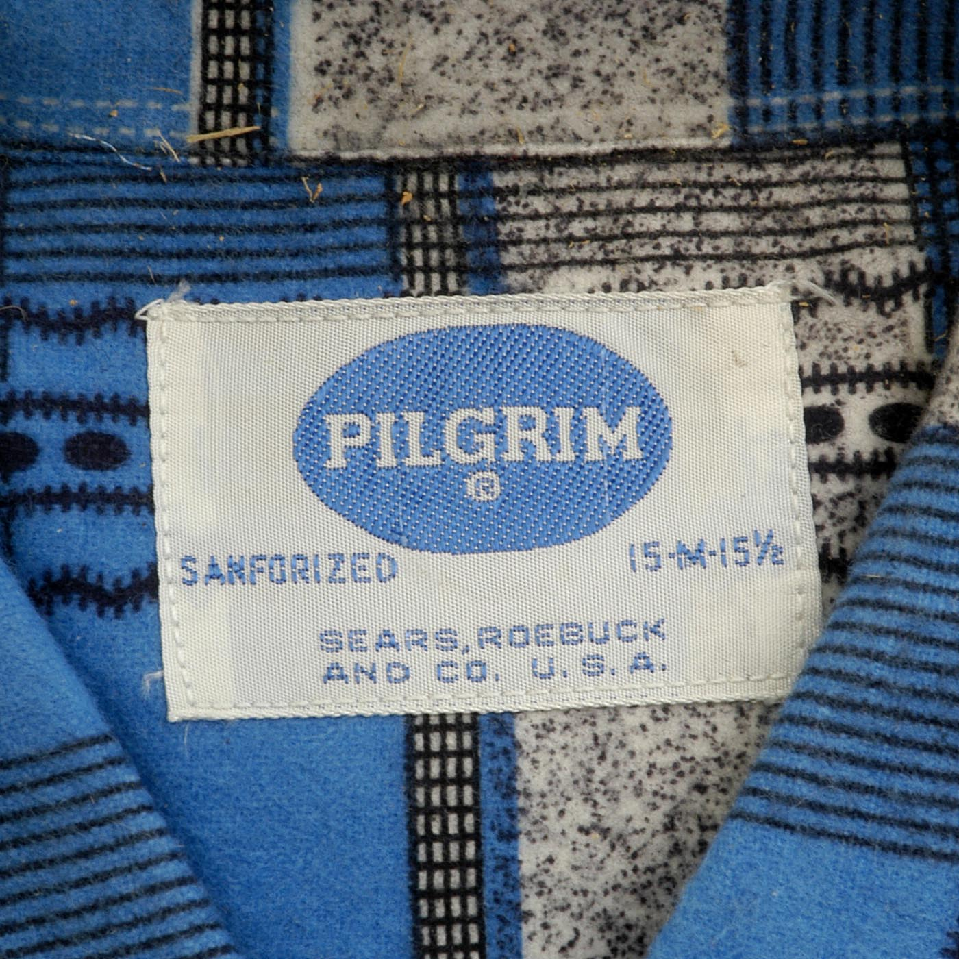 Deadstock 1950s Men's Pilgrim Blue Flannel Shirt