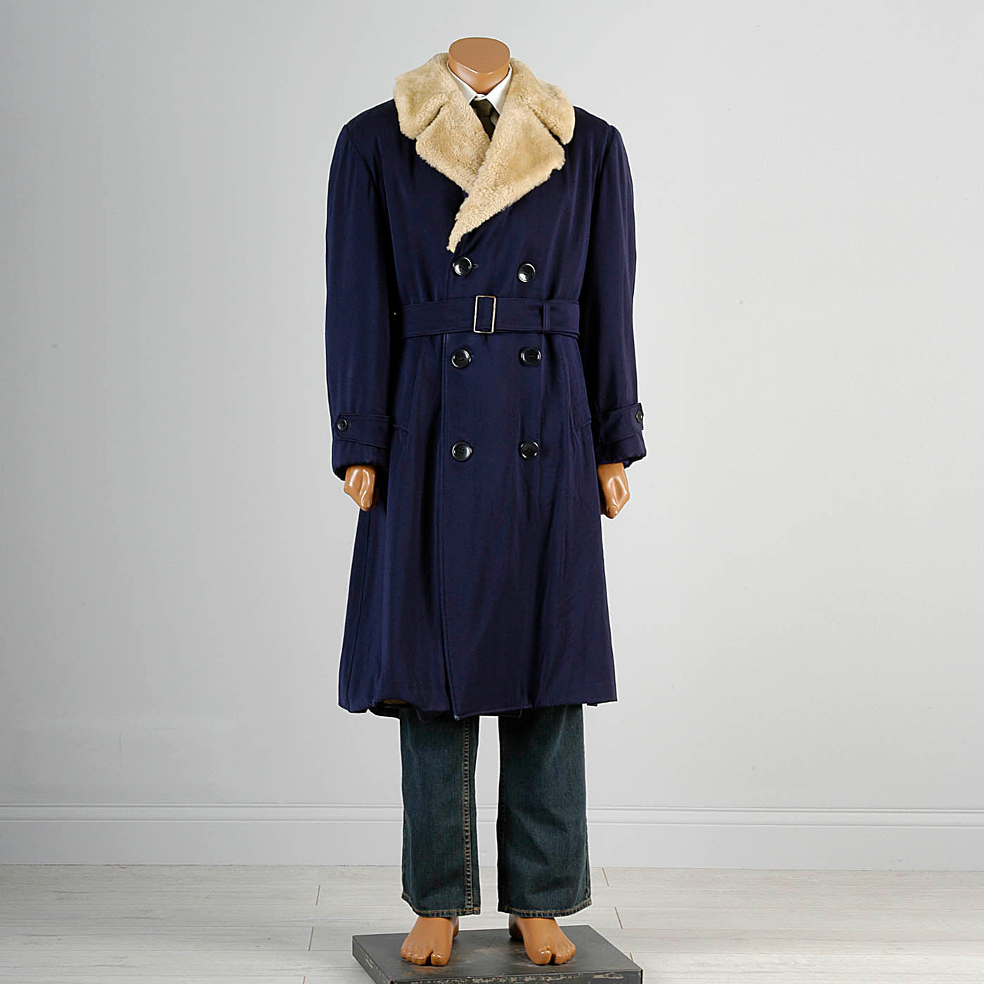 1950s Men's Heavy Duty Navy Blue Gabardine Winter Coat with Mouton Fur Collar