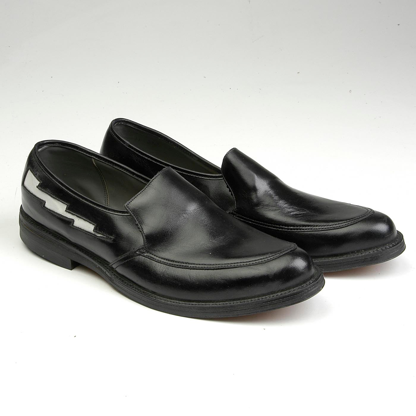 sz 11 Deadstock 1950s Men's Rockabilly Loafers with White Lightning Bolts