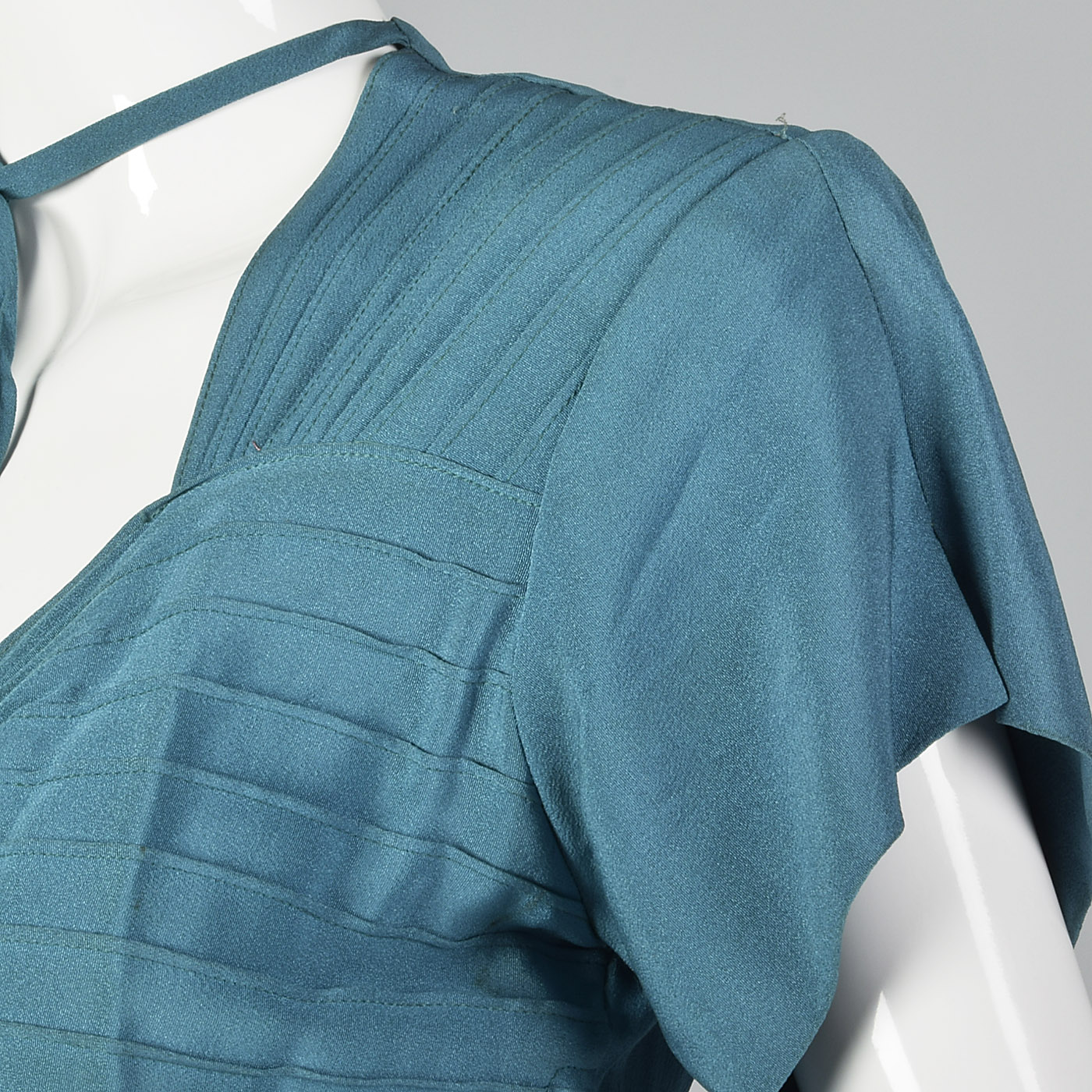 1940s Teal Rayon Dress with Neck Tie