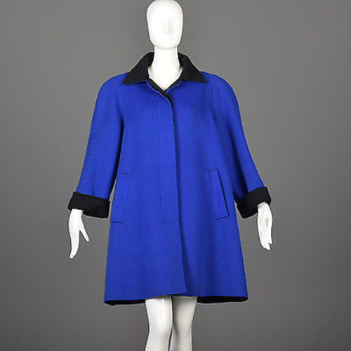1980s Oscar de la Renta Royal Blue Swing Coat