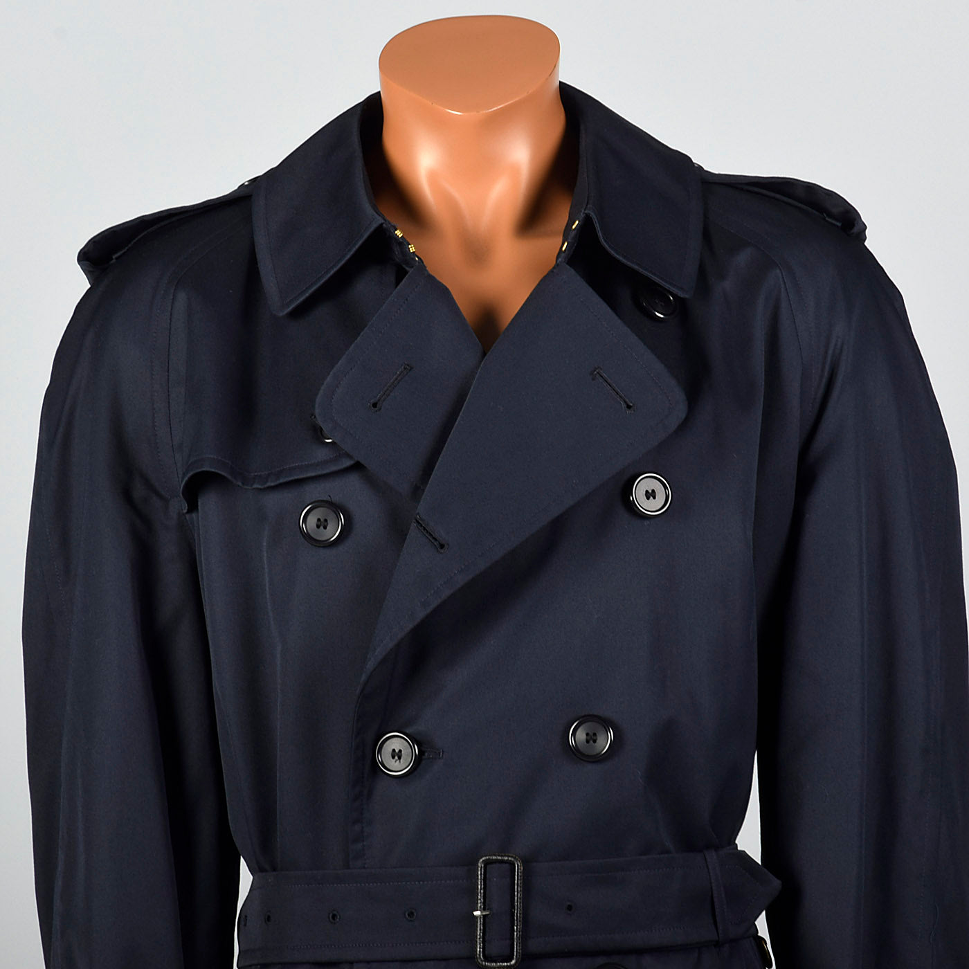 1980s Mens Burberrys  Prorsum Navy Blue Trench Coat