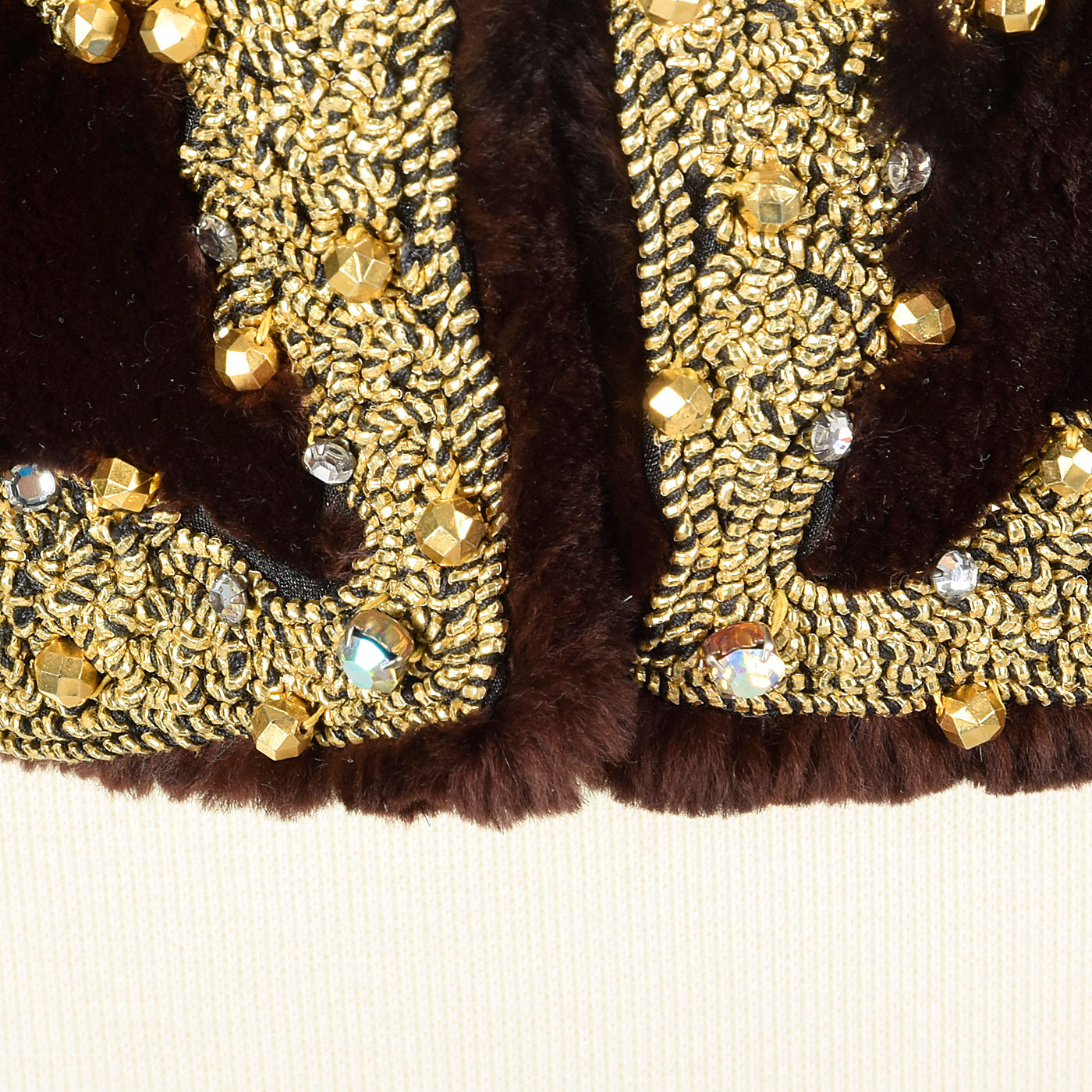 Oscar de la Renta Sheared Mink Beaded Jacket
