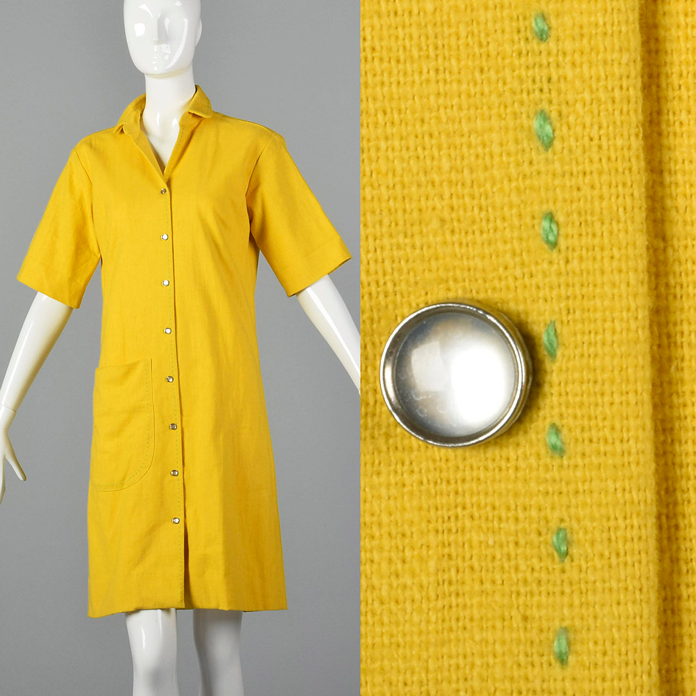 1960s Yellow Dress with Green Topstitch