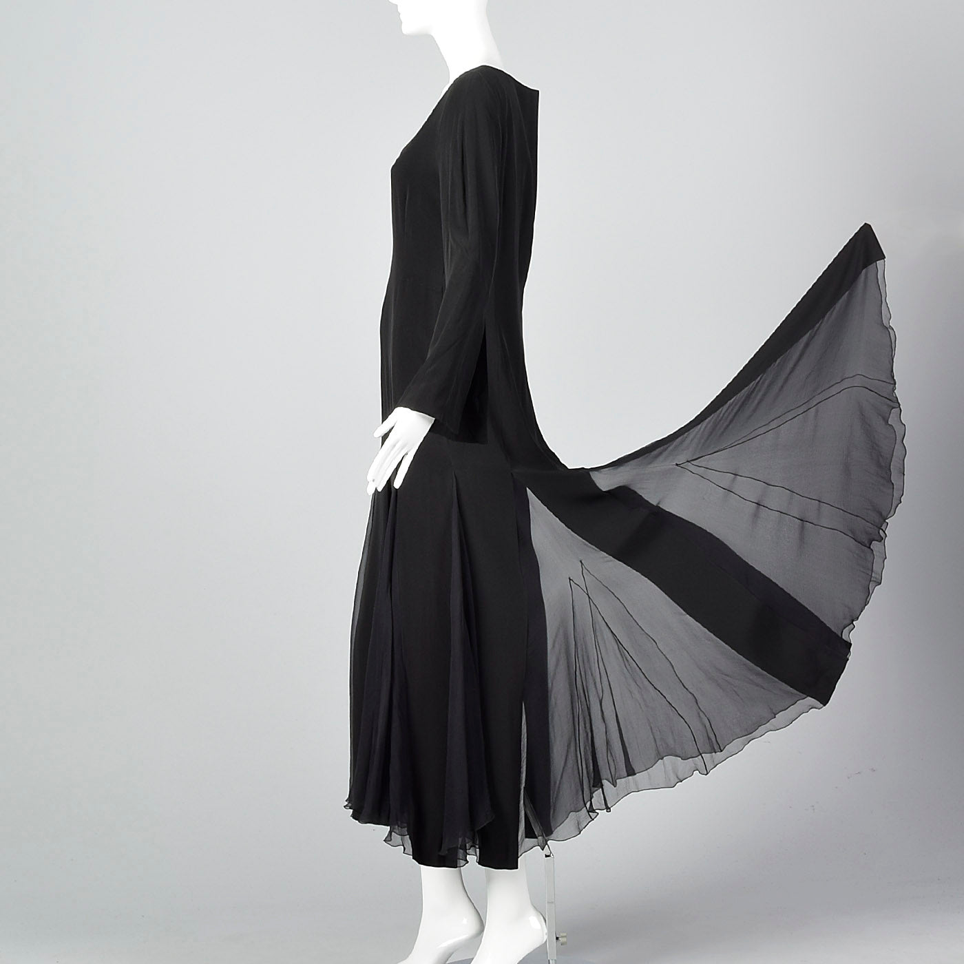 1990s Jil Sander Sexy Gothic Dress with Sheer Silk Panel Skirt