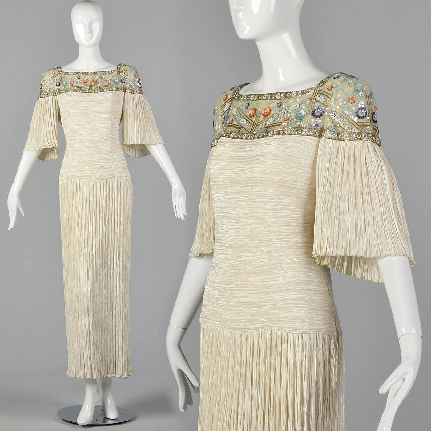 1980s Mary McFadden Dress with Beaded Neckline