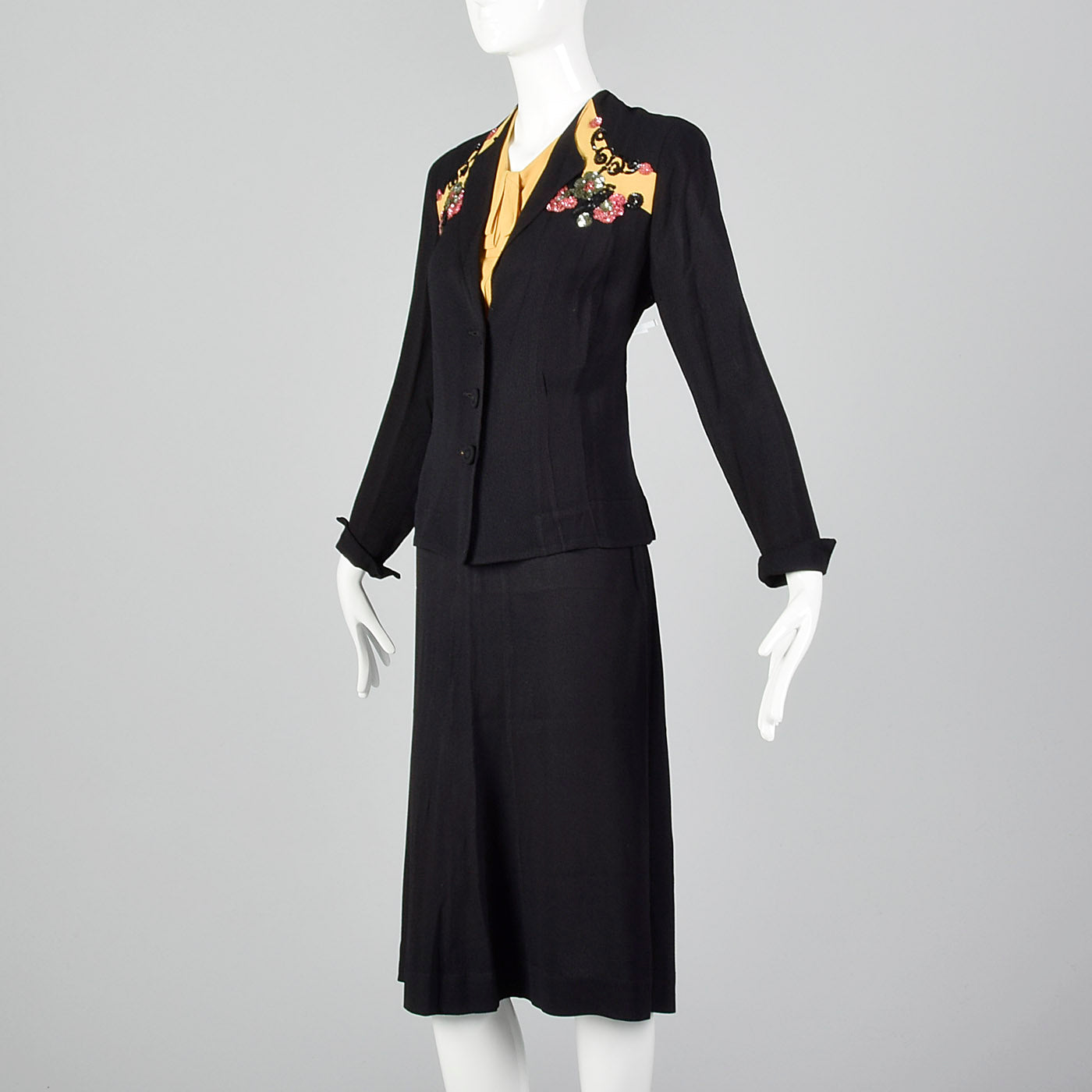 1940s Black Two Piece Set with Sequin Detail